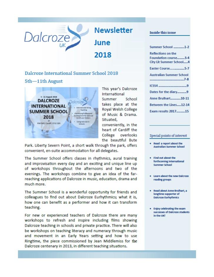 dalcroze member newsletter june 2018