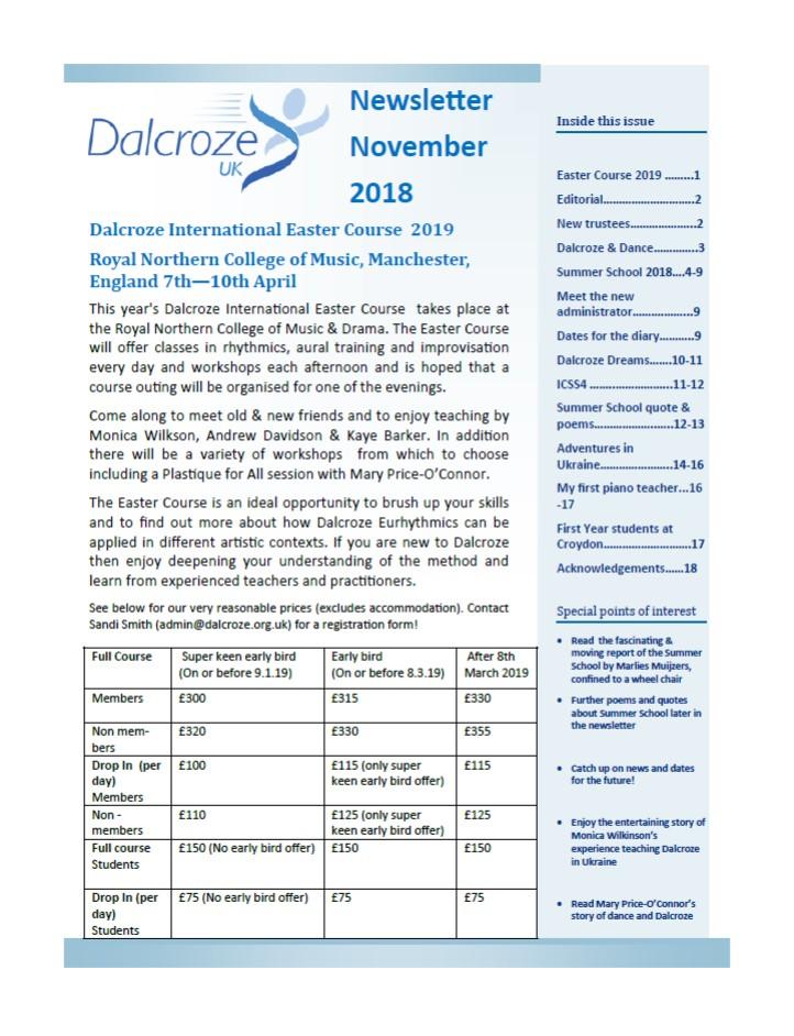 dalcroze member newsletter november 2018