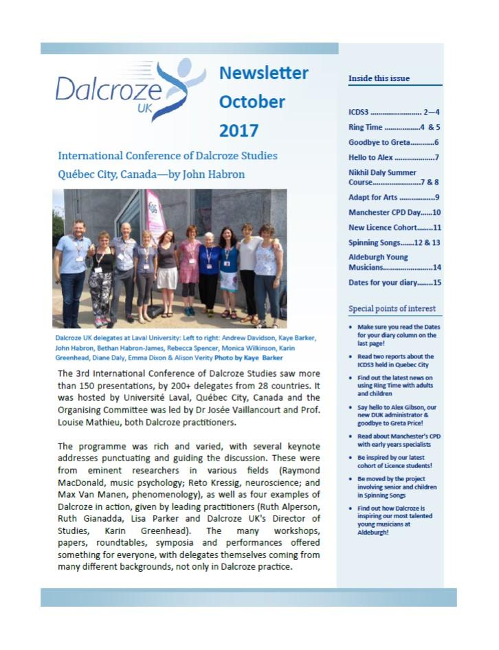 dalcroze member newsletter october 2017